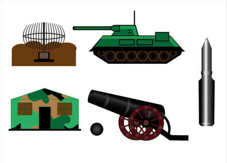 Military images tank cannon bullet radar tent.