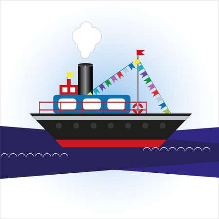 Cartoon ship in the sea illustration.