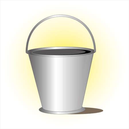 Metal bucket with handle illustration.