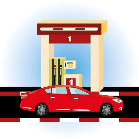Car at petrol gas station concept in flat design style. Illustration