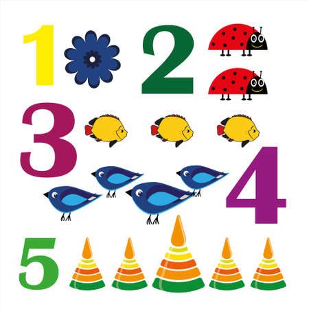 Colorful numbers from zero to five with funny figures.