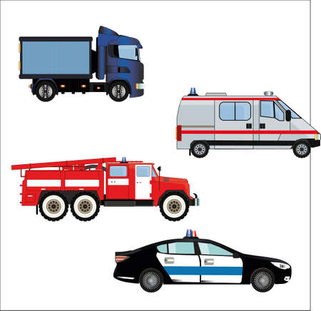 A set of emergency vehicles.