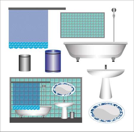 A set of bathroom furniture.
