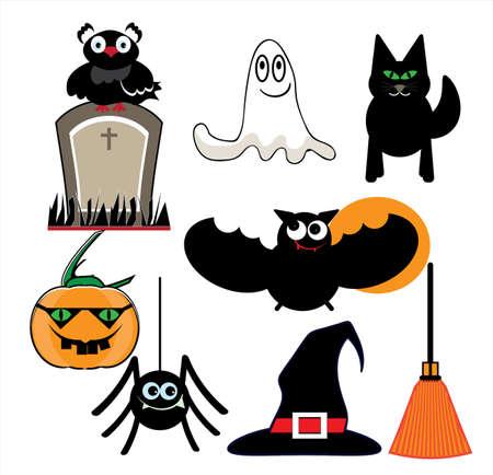 Set of Halloween elements icon. Illustration