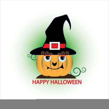 Halloween pumpkin with black hat icon.