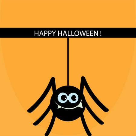 Ð'lack spider on cobweb icon. Illustration
