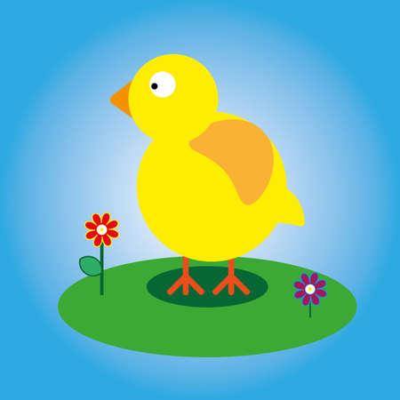Yellow chick icon illustration.