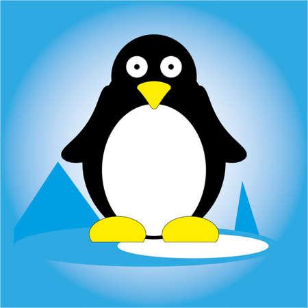 Penguin on ice icon.
