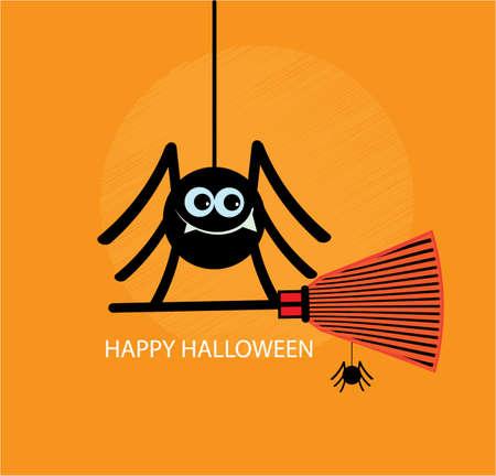 Вlack spider on cobweb icon.