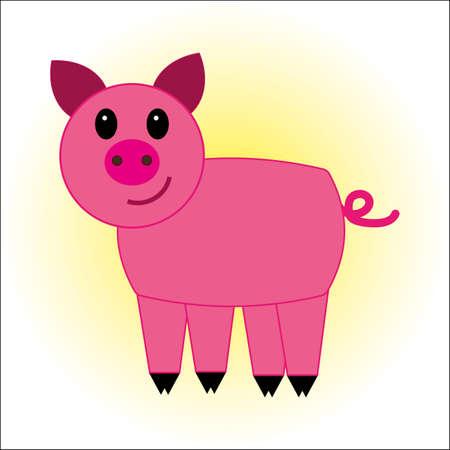 Pink pig icon illustration. Illustration