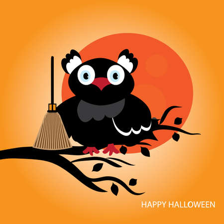 Black owl witch sitting on a tree icon.