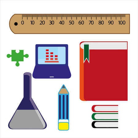 Stationery items for school icon.