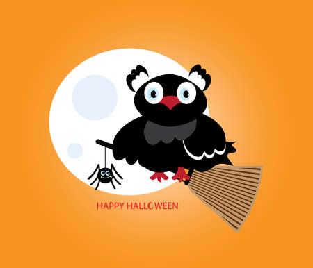 Flying black owl icon. Illustration