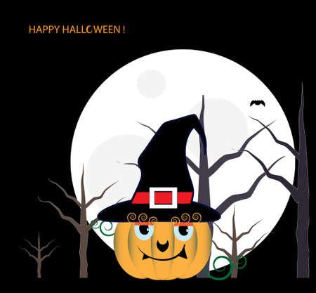 Pumpkin in black hat icon.