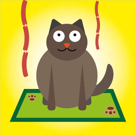 Kitten looking at sausages icon. Illustration