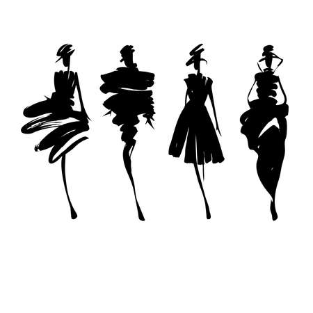 Fashion models hand drawn silhouettes