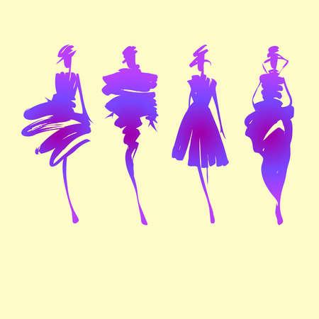 Fashion models hand drawn silhouettes