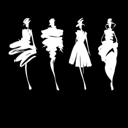 mujeres fashion: Modelos de moda siluetas dibujadas a mano Vectores
