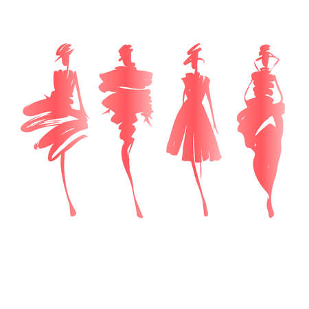 Fashion modellen hand getekende silhouetten