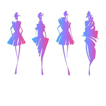 Fashion modellen silhouetten Stock Illustratie