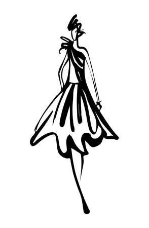 Mode vrouw schets Stock Illustratie