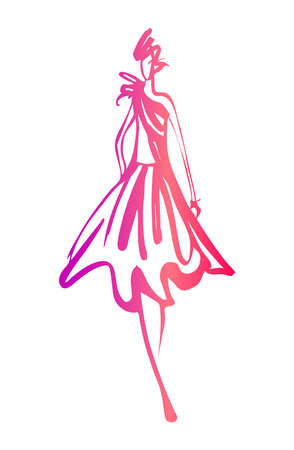 Boceto de mujer de moda Foto de archivo - 39456074