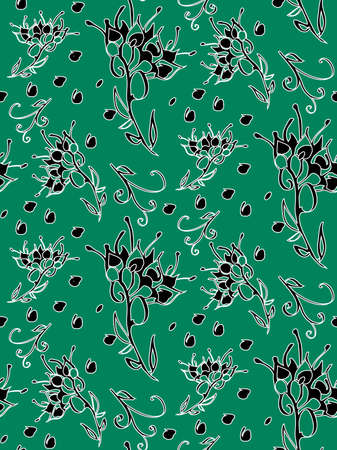line drawings: Floral seamless pattern