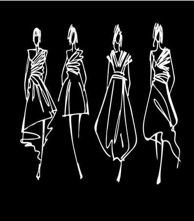 models: Fashion models hand drawn silhouettes
