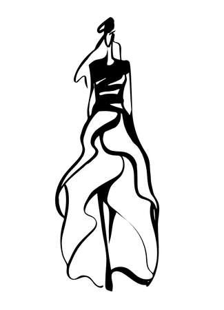 Fashion woman silhouette hand drawn sketch