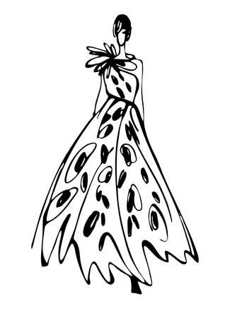 Fashion vrouw silhouet hand getekende schets