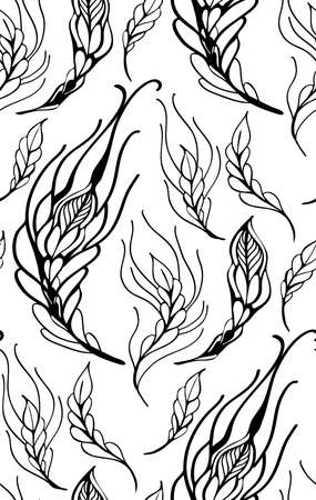 Floral seamless pattern with feather vector illustration Vector
