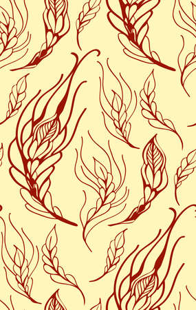 feather vector: Floral seamless pattern with feather vector illustration Illustration