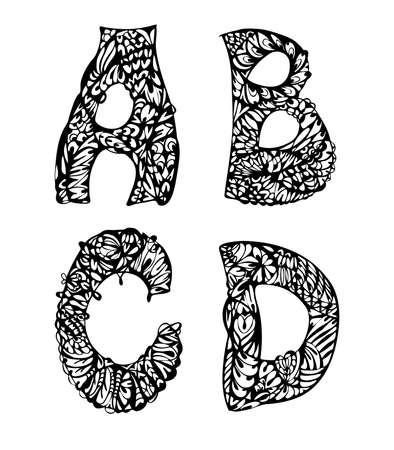 letras negras: Letras decorativas en blanco y negro dibujado a mano, garabatos ilustración