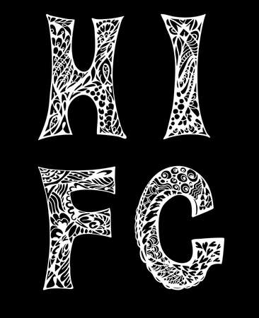 decorative letters: Black and white decorative letters hand drawn, doodles illustration