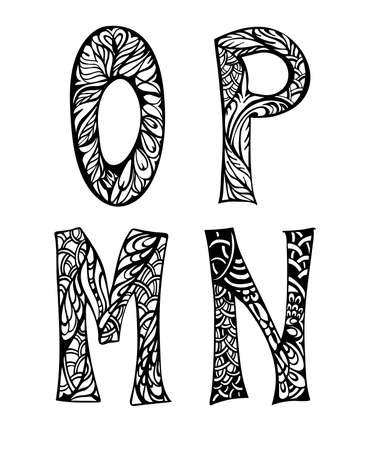 abstract letters: Black and white decorative letters hand drawn, doodles illustration