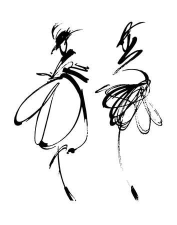 Mode vrouw schets de hand drwn geïsoleerde illustratie