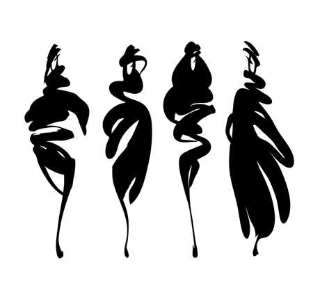 silhouette of women: Fashion models silhouettes hand drawn