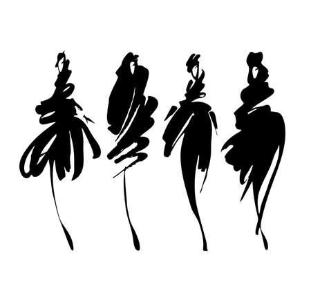 mode: Fashion-Modelle stellten getrennt auf Weiß, von Hand bemalt Abbildung.