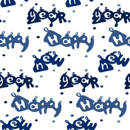 funy: Happy new year seamless backgroud pattern, craft paper. Vector illustration.