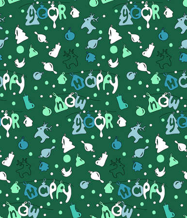 backgroud: Happy new year seamless backgroud pattern, craft paper. Vector illustration.