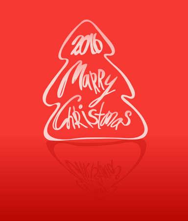 christmas tree illustration: Merry Christmas - lettering,  illustration. Christmas tree.