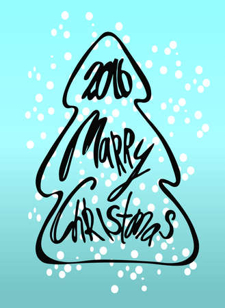 christmas tree illustration: Merry Christmas - lettering,  illustration. Christmas tree.