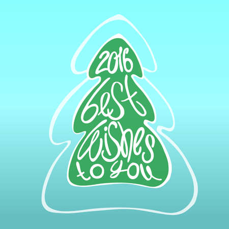 best wishes: Best wishes to you - lettering, illustration. Christmas tree.