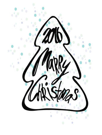 christmas tree illustration: Merry Christmas lettering, illustration. Christmas tree.