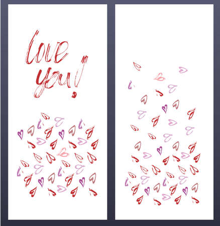 Love you card, wediing card, invitation template wih heats. Vector illustration hand painted. Illustration