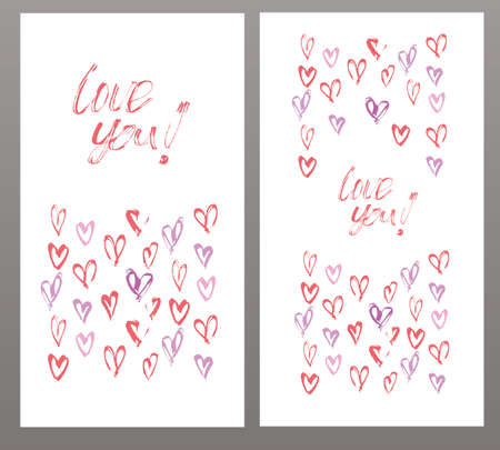 heats: Love you card, wediing card, invitation template wih heats. Vector illustration hand painted. Illustration