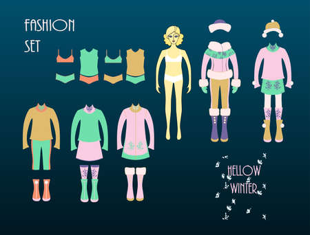 winter girl: Girls fashion set. Cute dress up doll. Autumn- winter seasons. Illustration