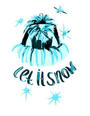 winter jacket: Winter jacket. Let it snow card.