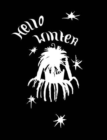 winter jacket: Winter jacket. Hello winter card.