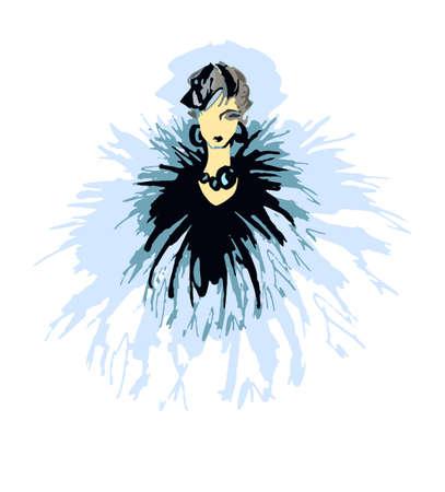woman in fur coat: Fashion woman vector illustration. Fashion sketch hand drawn. Illustration